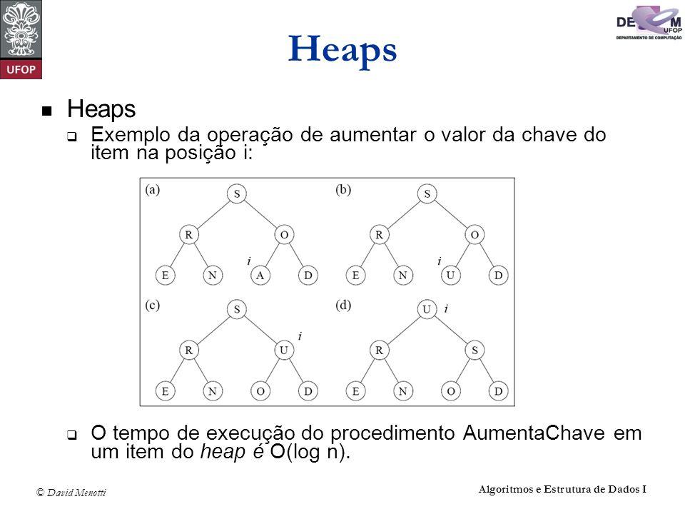 Heaps Heaps. Exemplo da operação de aumentar o valor da chave do item na posição i: