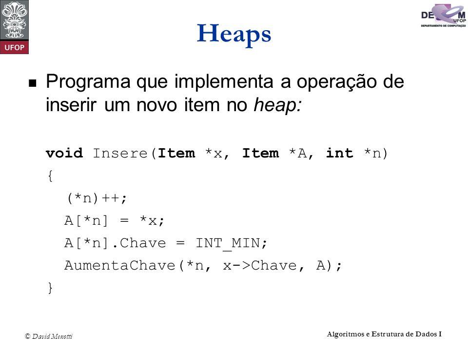 Heaps Programa que implementa a operação de inserir um novo item no heap: void Insere(Item *x, Item *A, int *n)