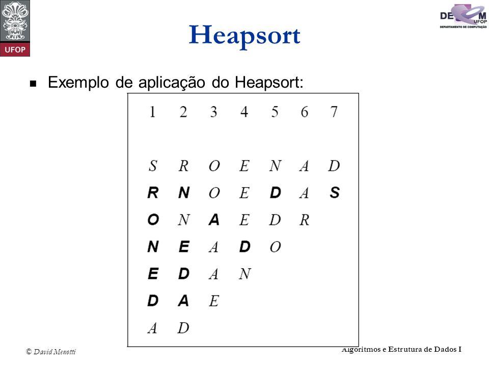 Heapsort Exemplo de aplicação do Heapsort:
