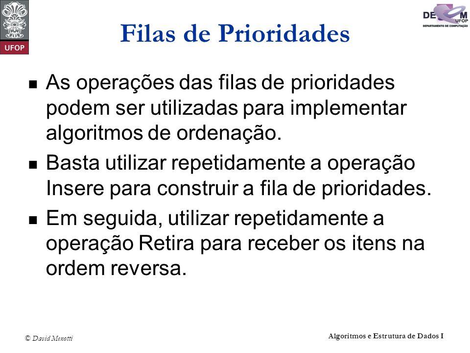 Filas de Prioridades As operações das filas de prioridades podem ser utilizadas para implementar algoritmos de ordenação.