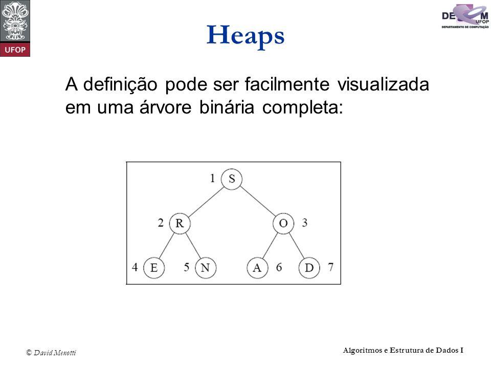 Heaps A definição pode ser facilmente visualizada em uma árvore binária completa: