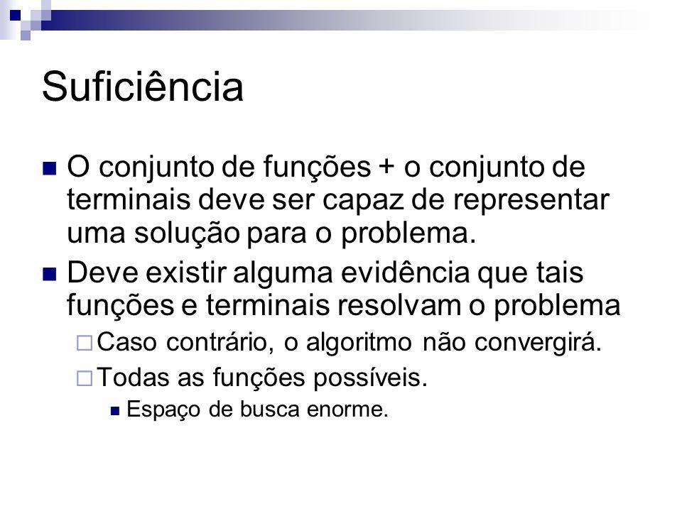 Suficiência O conjunto de funções + o conjunto de terminais deve ser capaz de representar uma solução para o problema.