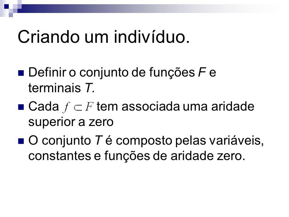 Criando um indivíduo. Definir o conjunto de funções F e terminais T.