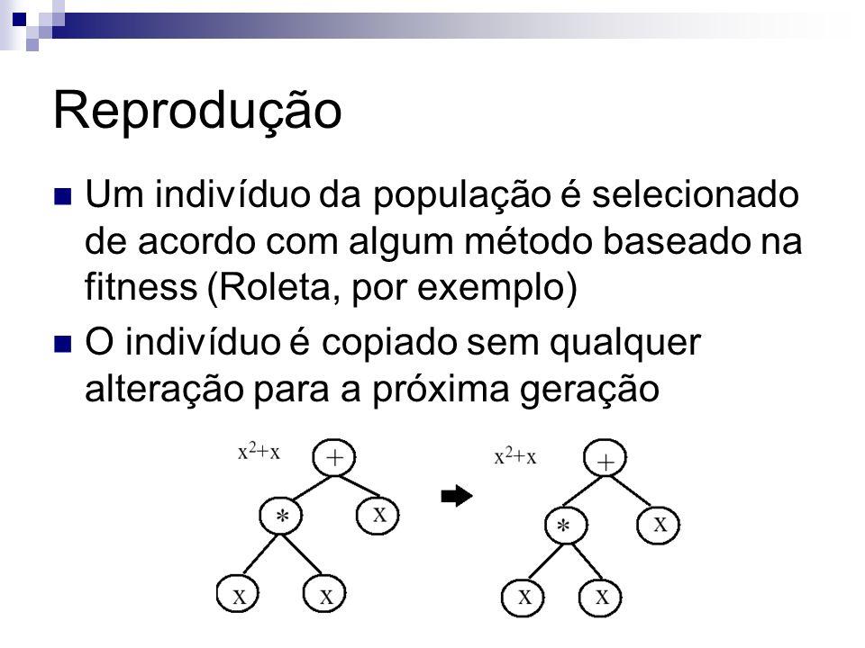 ReproduçãoUm indivíduo da população é selecionado de acordo com algum método baseado na fitness (Roleta, por exemplo)