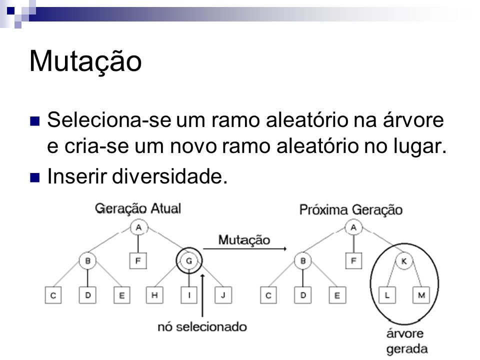 MutaçãoSeleciona-se um ramo aleatório na árvore e cria-se um novo ramo aleatório no lugar.