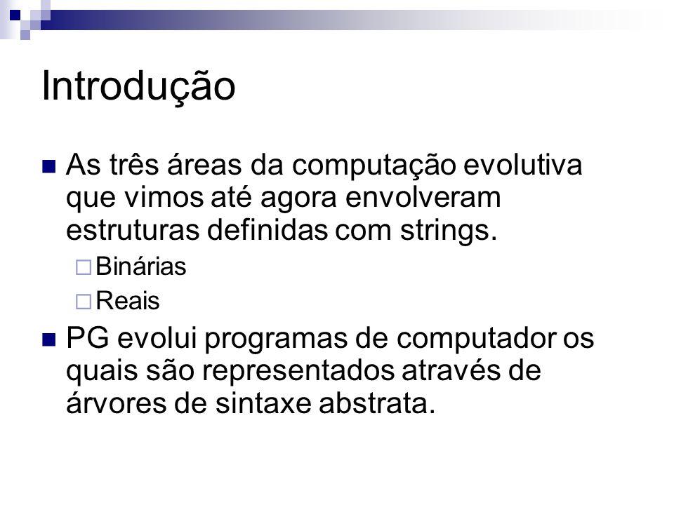 Introdução As três áreas da computação evolutiva que vimos até agora envolveram estruturas definidas com strings.