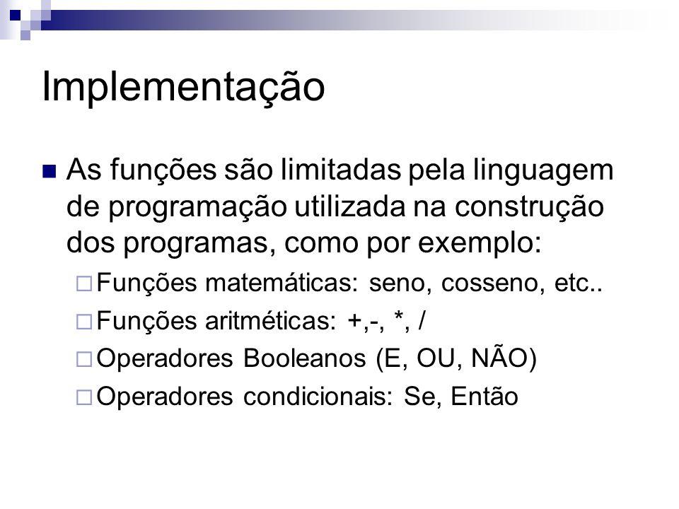 Implementação As funções são limitadas pela linguagem de programação utilizada na construção dos programas, como por exemplo: