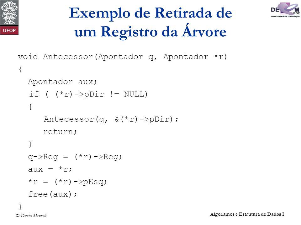 Exemplo de Retirada de um Registro da Árvore