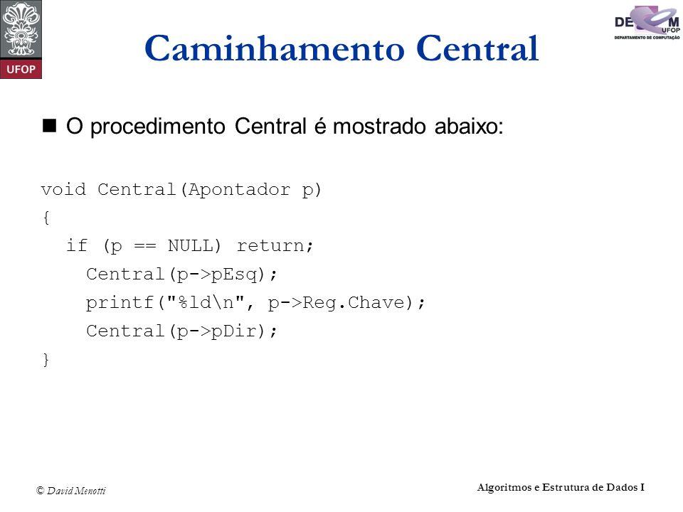 Caminhamento Central O procedimento Central é mostrado abaixo: