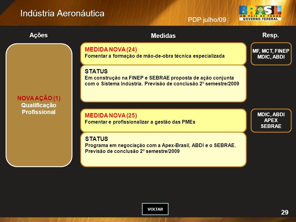29 MEDIDA NOVA (24) STATUS NOVA AÇÃO (1) Qualificação Profissional
