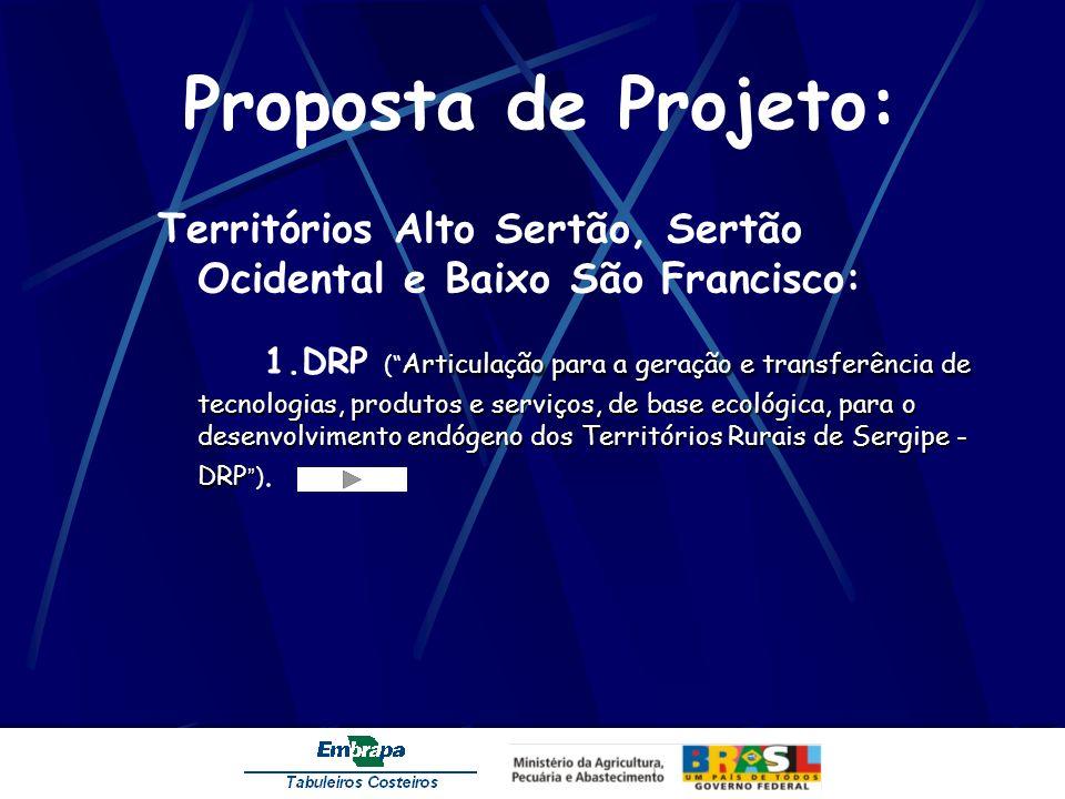 Proposta de Projeto: Territórios Alto Sertão, Sertão Ocidental e Baixo São Francisco: