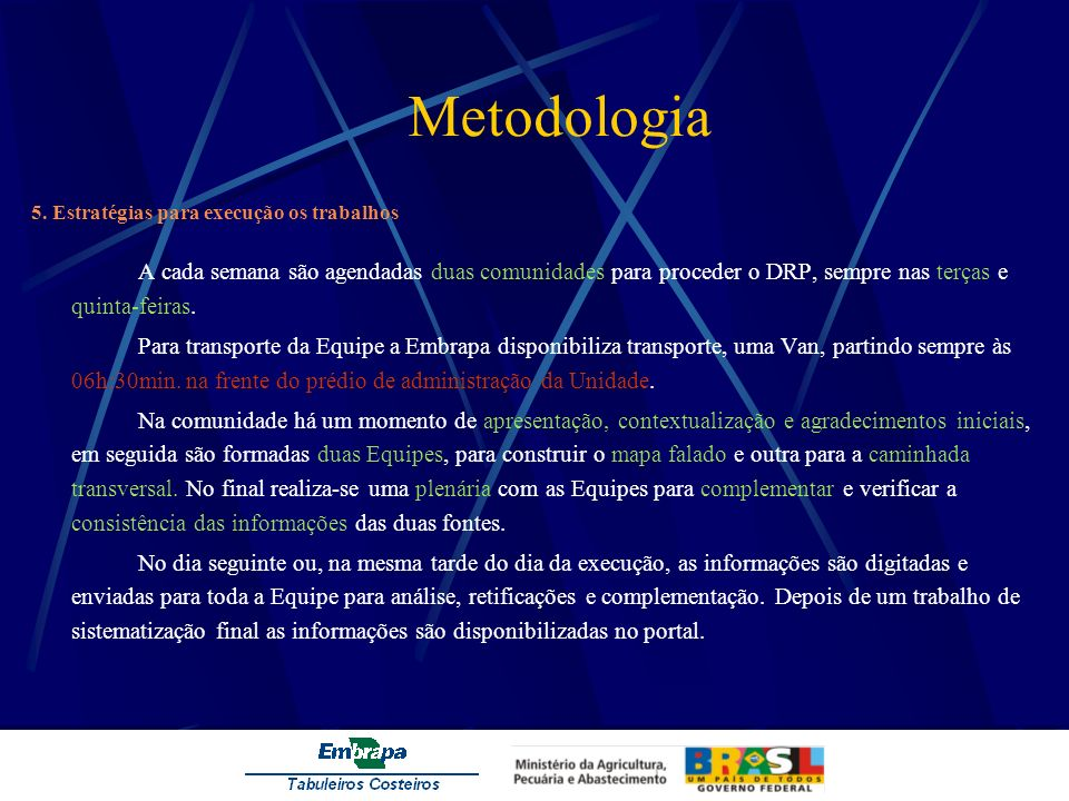 Metodologia 5. Estratégias para execução os trabalhos.