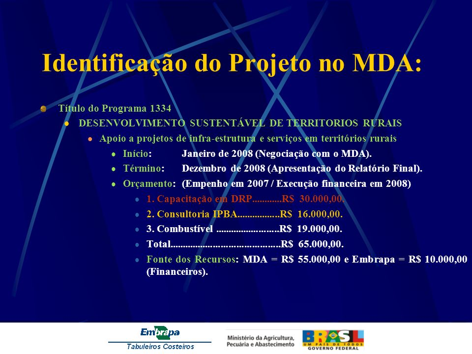 Identificação do Projeto no MDA: