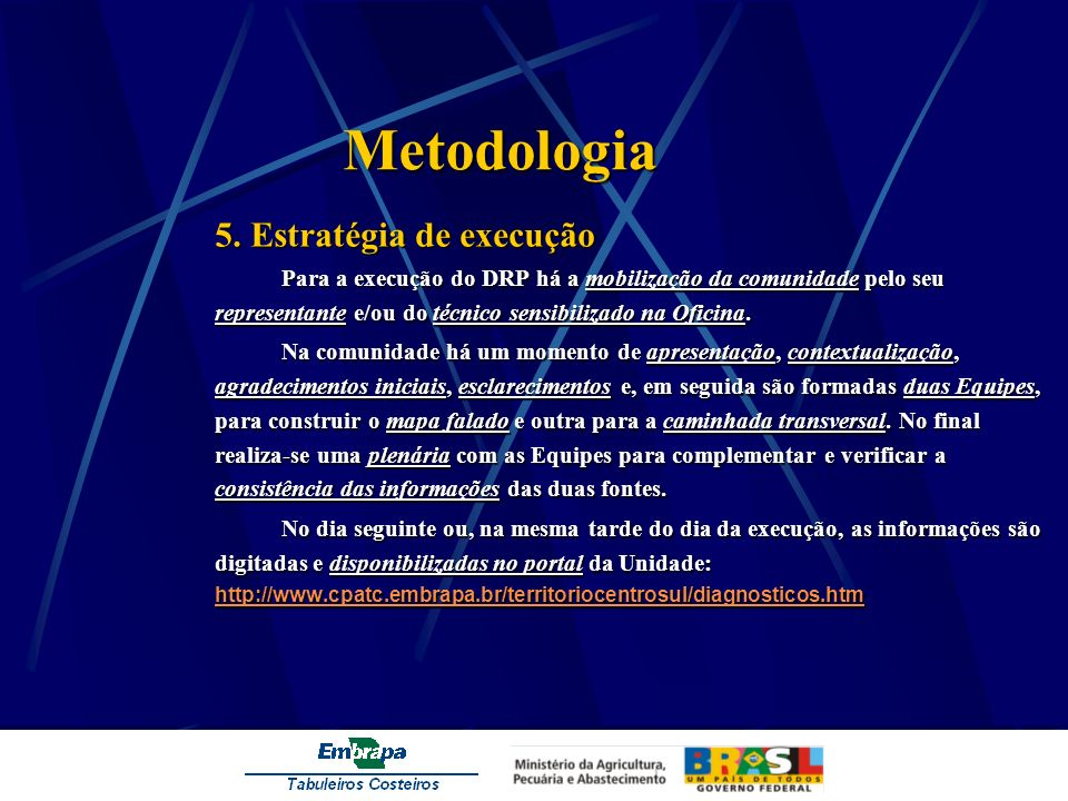 Metodologia 5. Estratégia de execução