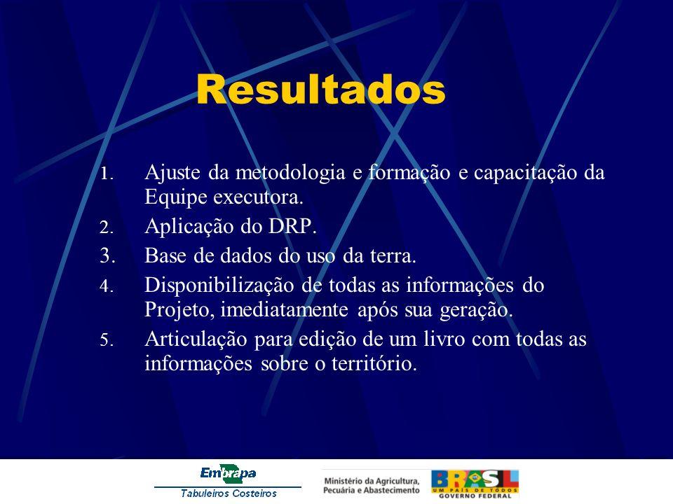 Resultados Ajuste da metodologia e formação e capacitação da Equipe executora. Aplicação do DRP. 3. Base de dados do uso da terra.