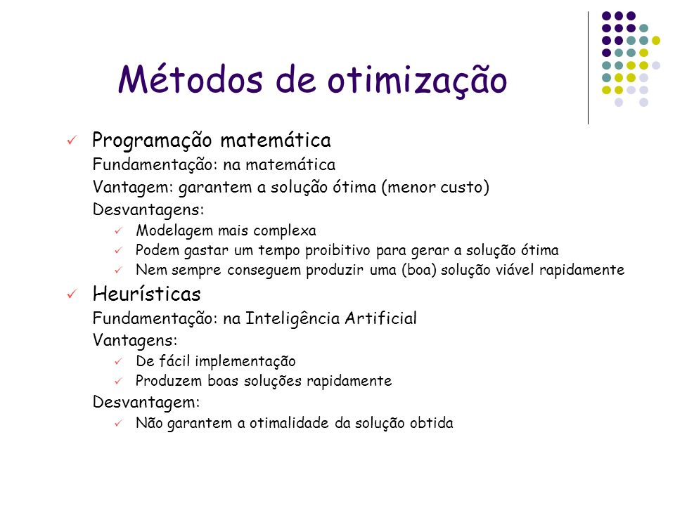 Métodos de otimização Programação matemática Heurísticas