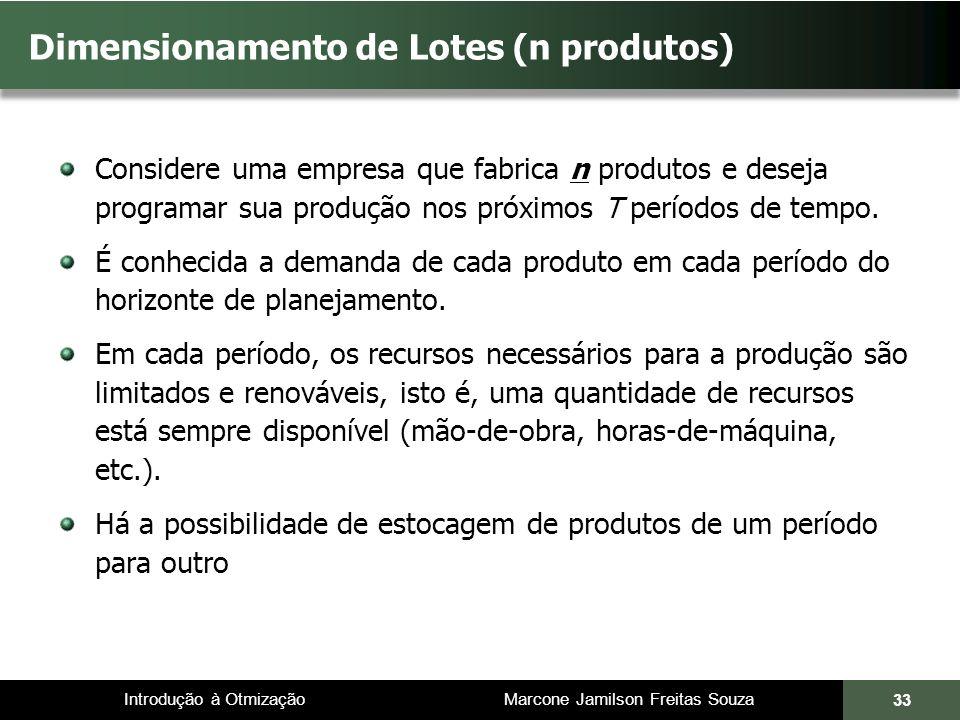 Dimensionamento de Lotes (n produtos)