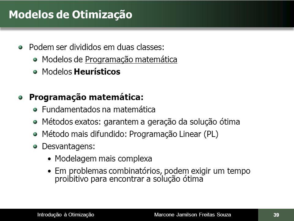 Modelos de Otimização Programação matemática: