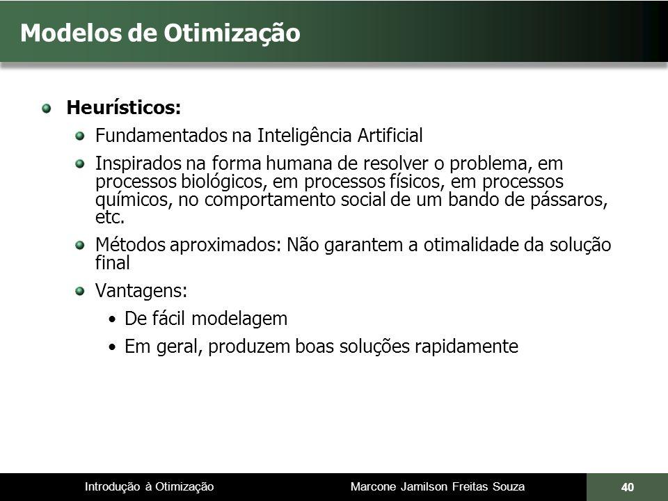Modelos de Otimização Heurísticos: