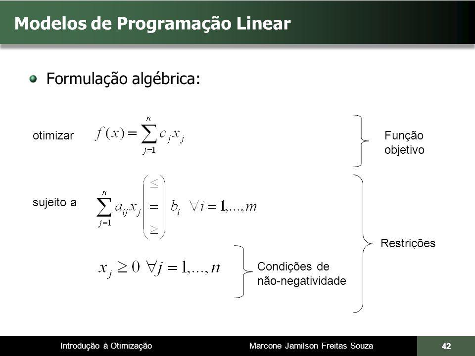Modelos de Programação Linear