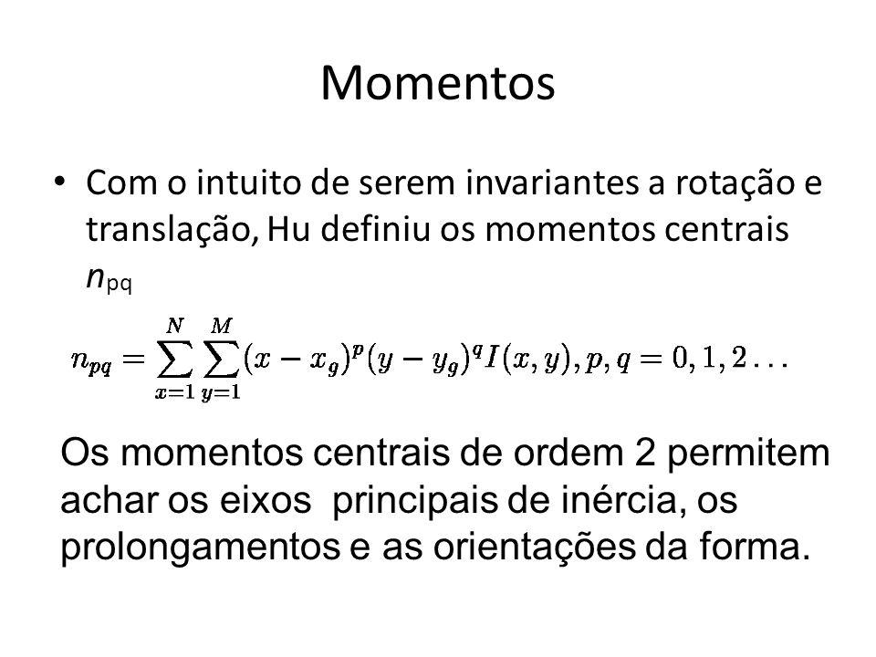 Momentos Com o intuito de serem invariantes a rotação e translação, Hu definiu os momentos centrais npq.