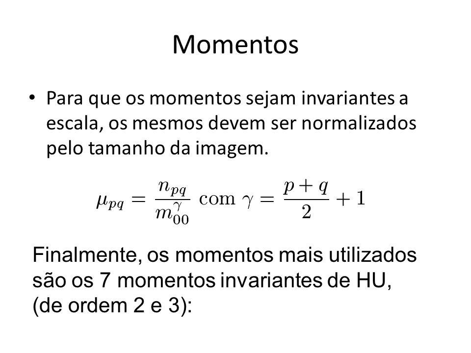 Momentos Para que os momentos sejam invariantes a escala, os mesmos devem ser normalizados pelo tamanho da imagem.