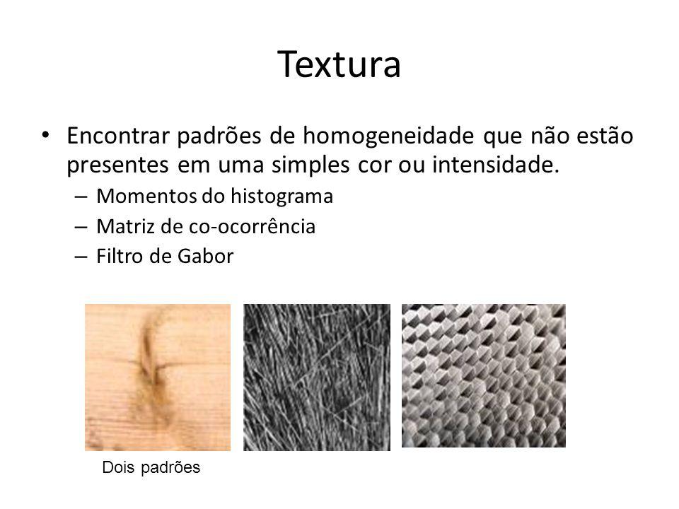 Textura Encontrar padrões de homogeneidade que não estão presentes em uma simples cor ou intensidade.