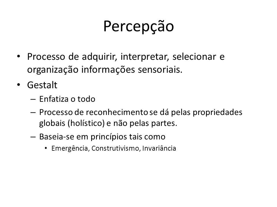 Percepção Processo de adquirir, interpretar, selecionar e organização informações sensoriais. Gestalt.
