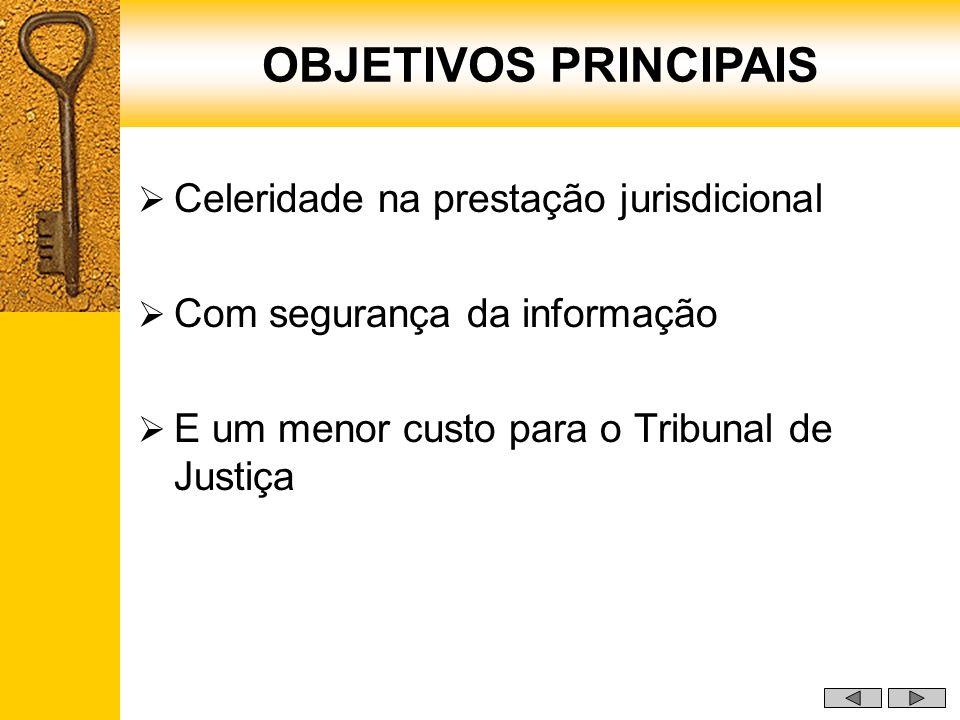 OBJETIVOS PRINCIPAIS Celeridade na prestação jurisdicional