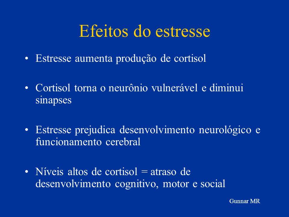 Efeitos do estresse Estresse aumenta produção de cortisol