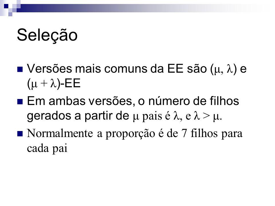 Seleção Versões mais comuns da EE são (μ, λ) e (μ + λ)-EE