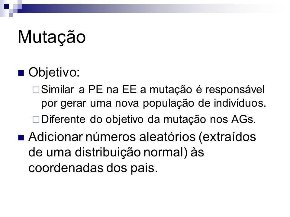 Mutação Objetivo: Similar a PE na EE a mutação é responsável por gerar uma nova população de indivíduos.