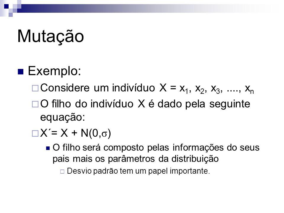 Mutação Exemplo: Considere um indivíduo X = x1, x2, x3, ...., xn