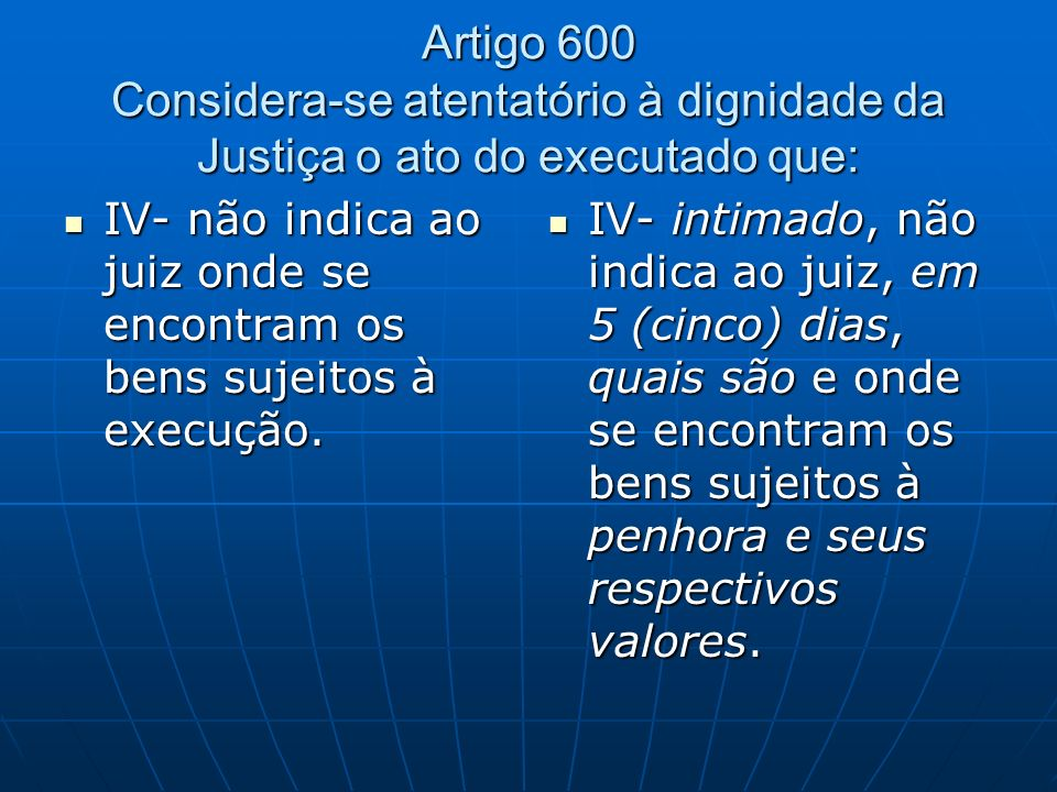 Artigo 600 Considera-se atentatório à dignidade da Justiça o ato do executado que: