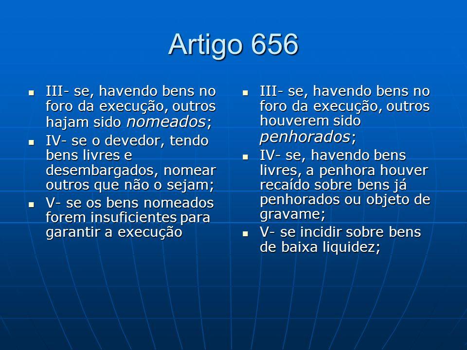 Artigo 656 III- se, havendo bens no foro da execução, outros hajam sido nomeados;