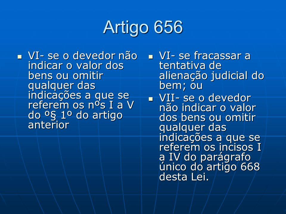 Artigo 656 VI- se o devedor não indicar o valor dos bens ou omitir qualquer das indicações a que se referem os nºs I a V do º§ 1º do artigo anterior.