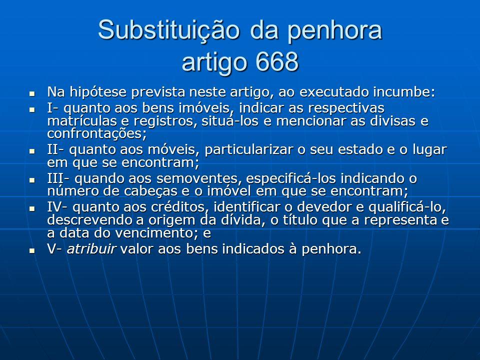 Substituição da penhora artigo 668