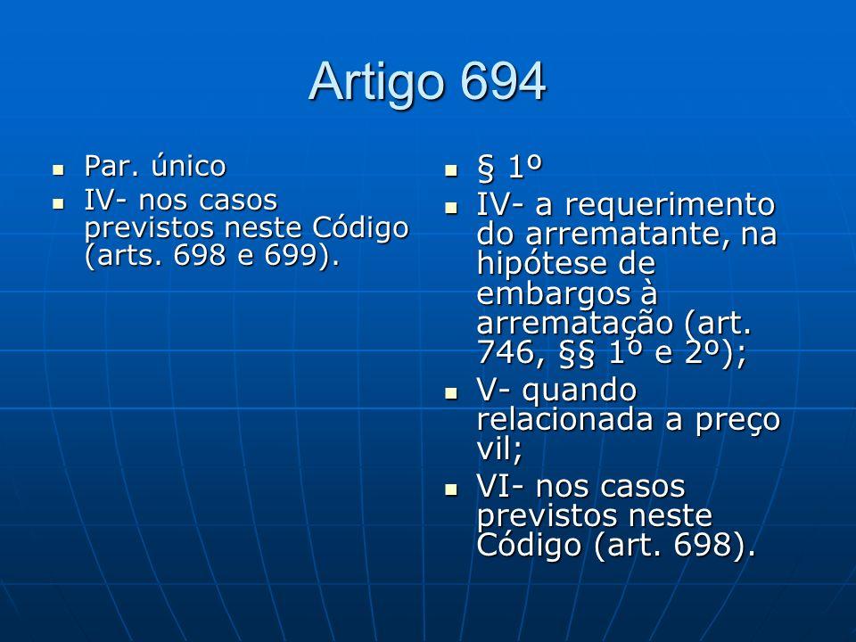 Artigo 694 Par. único. IV- nos casos previstos neste Código (arts. 698 e 699). § 1º.