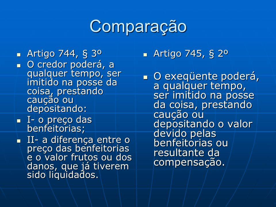 Comparação Artigo 744, § 3º. O credor poderá, a qualquer tempo, ser imitido na posse da coisa, prestando caução ou depositando: