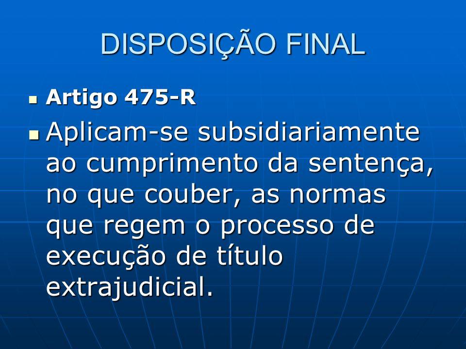 DISPOSIÇÃO FINAL Artigo 475-R.