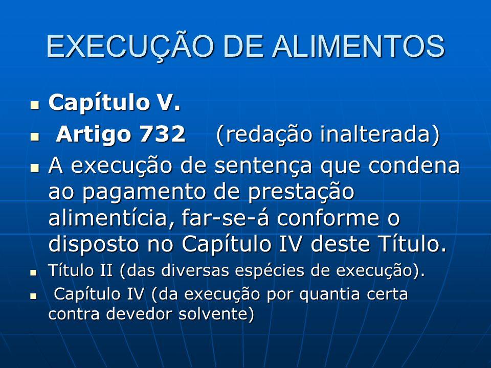 EXECUÇÃO DE ALIMENTOS Capítulo V. Artigo 732 (redação inalterada)