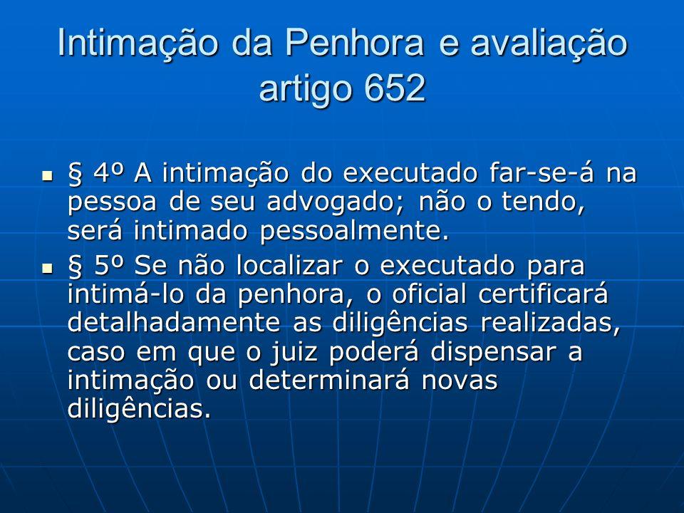 Intimação da Penhora e avaliação artigo 652