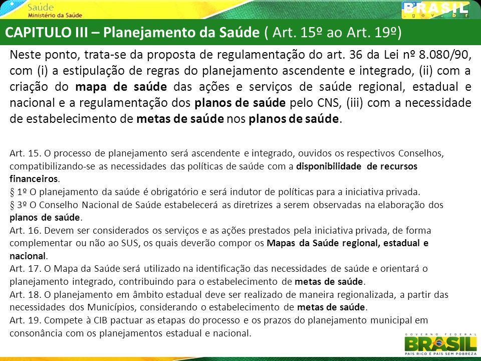 CAPITULO III – Planejamento da Saúde ( Art. 15º ao Art. 19º)