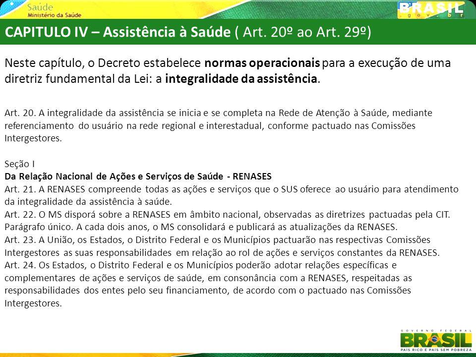 CAPITULO IV – Assistência à Saúde ( Art. 20º ao Art. 29º)