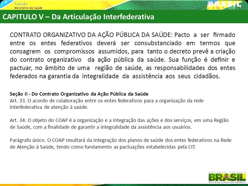 CAPITULO V – Da Articulação Interfederativa