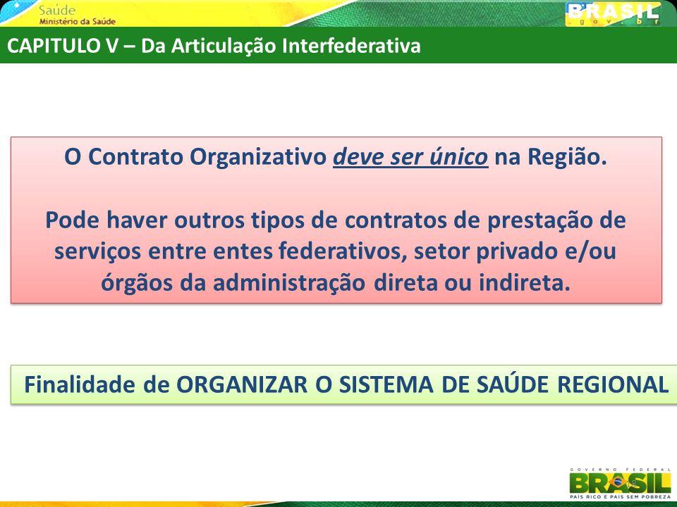 O Contrato Organizativo deve ser único na Região.