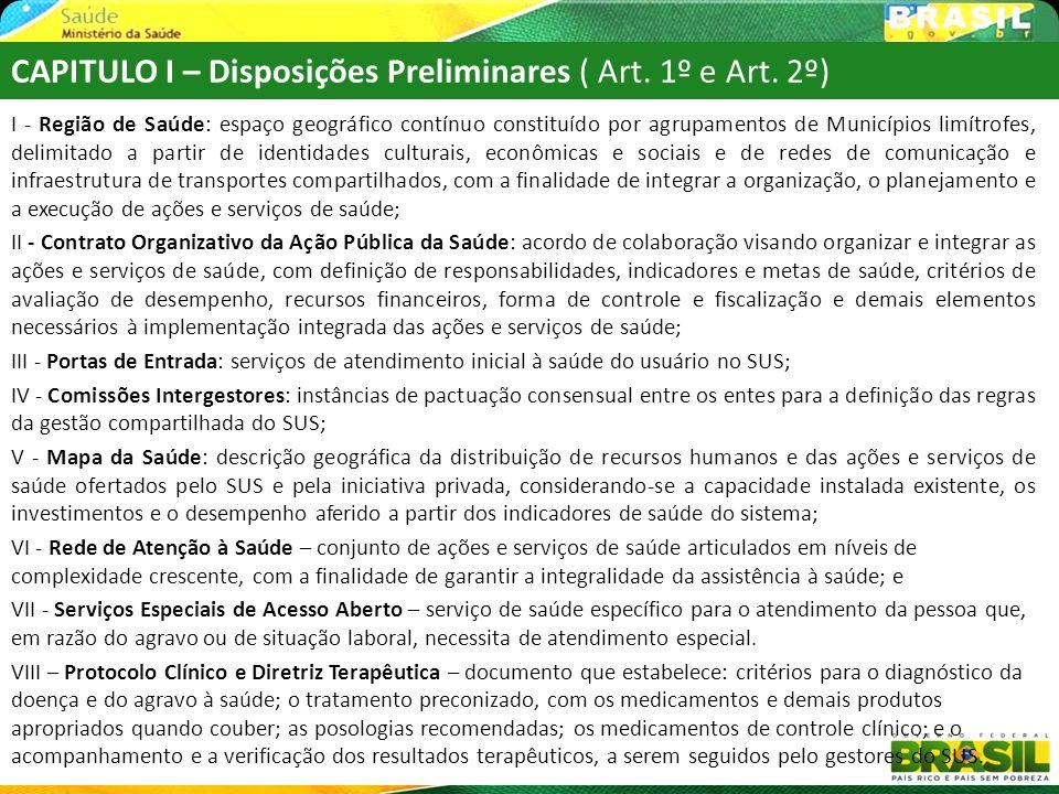 CAPITULO I – Disposições Preliminares ( Art. 1º e Art. 2º)