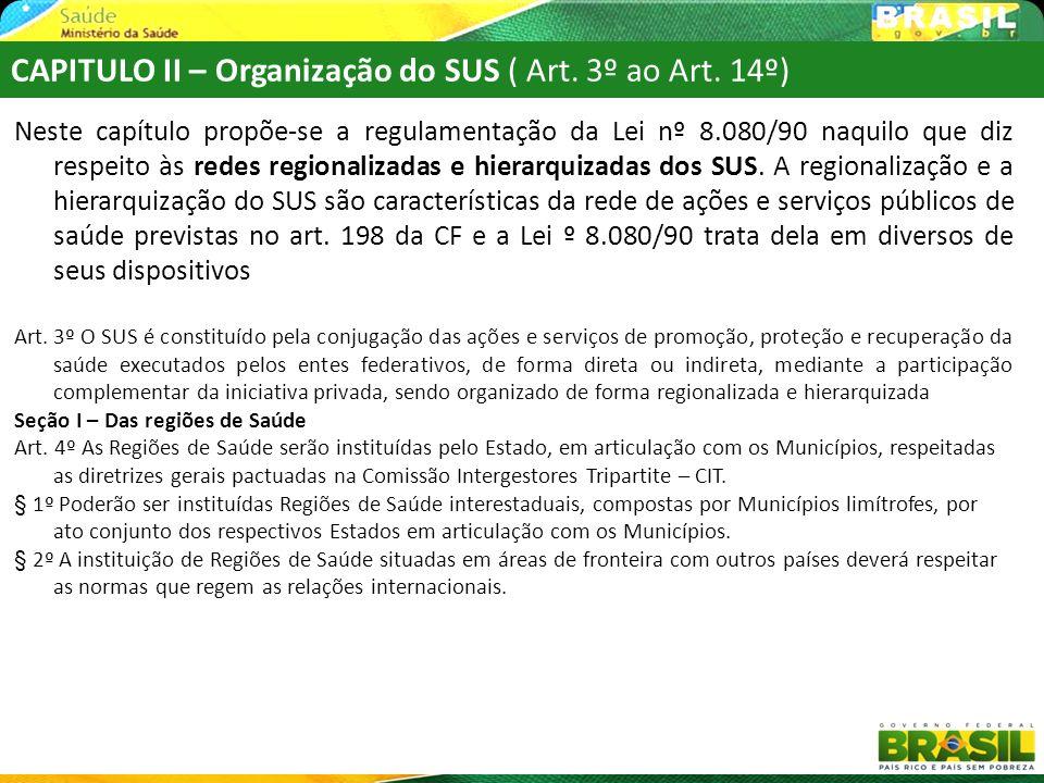 CAPITULO II – Organização do SUS ( Art. 3º ao Art. 14º)