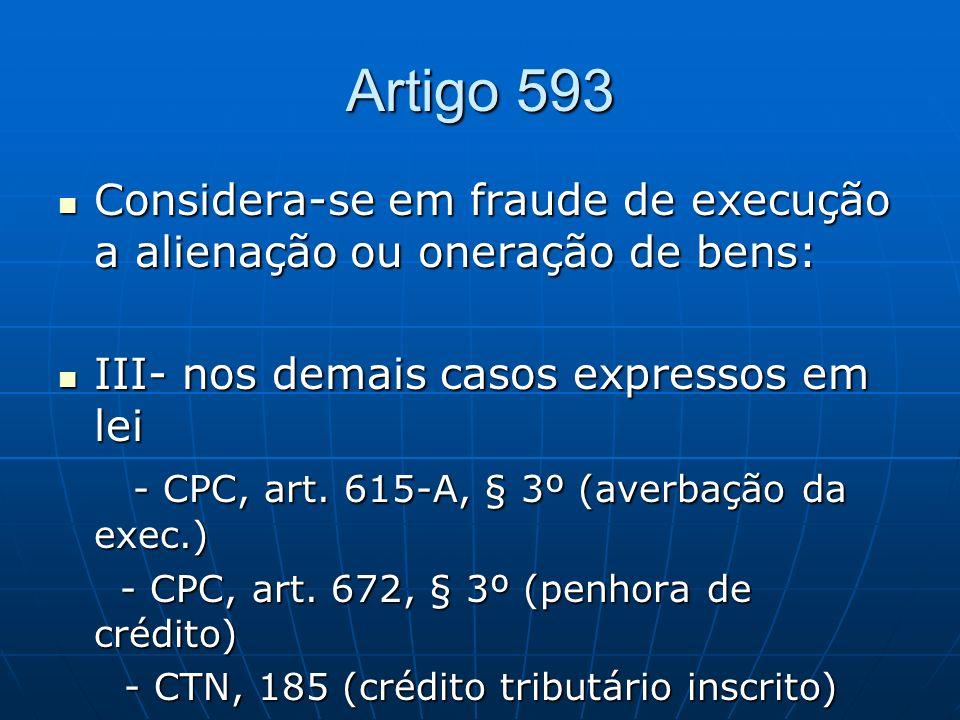 Artigo 593Considera-se em fraude de execução a alienação ou oneração de bens: III- nos demais casos expressos em lei.