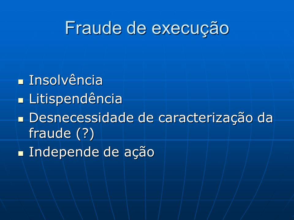 Fraude de execução Insolvência Litispendência